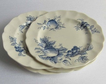 Free Shipping Set of 4 Vintage Johnson Bros HARVEST TIME Blue and White Bread Plate Made in England