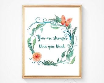 Nursery wall art, Nursery decor, Nursery prints, Wall art, Nursery quote, Kids decor, Wall prints, Baby girl nursery, Stronger quote