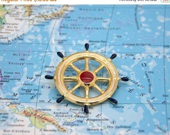ON SALE Vintage brooch. Accessories. Ship wheel. Helm boat. Vintage jewelry. Nautical. Ship wheel brooch.