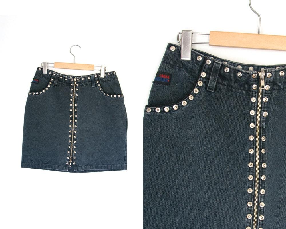 jupe en jean vintage mini jupe en jean jupe taille haute. Black Bedroom Furniture Sets. Home Design Ideas