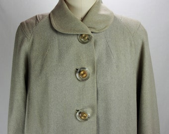 Vintage Lovely 1940s Pale Gray and Cream Wool Coat-Fabulous Buttons-Modern Size 8/10