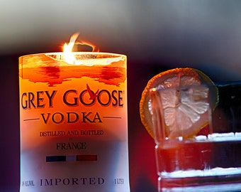 Grey Goose Vodka bottle candle made with soy wax