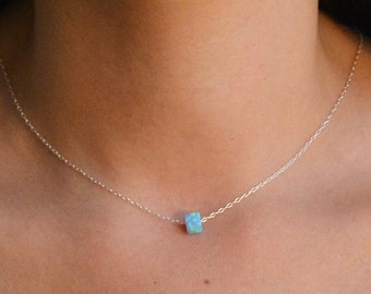 blue opal necklace,opal necklace silver,sterling silver necklace,opal pendant,minimal necklace,opal necklace jewelry , women gift