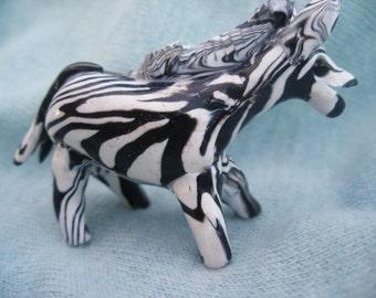 Zebra. tiny zebra. small animal, Fun zebra, wild zebra ,  handmade sculpture, clay item, wild animal, collectors item, ornamental zebra
