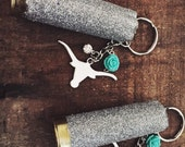 Texas Longhorn Bull Head Keychain with 12 Gauge Silver Glitter Shotgun Shell Teal Flower and Jewel