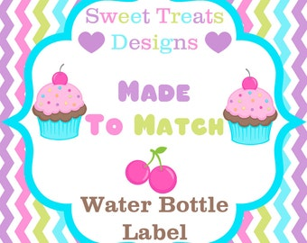 Made to Match Water Bottle Label Printable - Customizable - You Print - Digital File