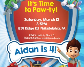 Paw Patrol Invitation--Digital File (Coordinating printables also available)