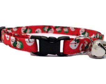 Snowman Cat or kitten Collar Christmas Red and Green Cotton Break Away Buckle Quick Release olaf frosty winter holiday