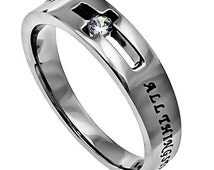 "Solitaire Cross Band . Stainless Steel . Cubic Zirconium . ""Possible"""