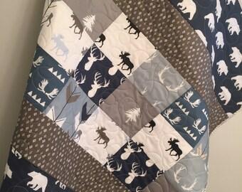 Woodland baby quilt, baby boy bedding, moose buck antlers, arrows, deer stag elk, navy, blue, gray grey greige, woodland nursery, toddler