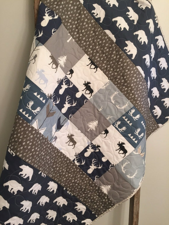 Rustic Baby Boy Nursery: Woodland Baby Quilt Baby Boy Bedding Moose Buck Antlers
