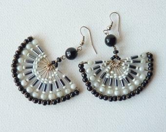 Beaded Fan Earrings Vintage White and Black Earrings Dangle Pierced Earrings, Geometrical Retro Earrings, European 80's Jewelry,Retro Dangle
