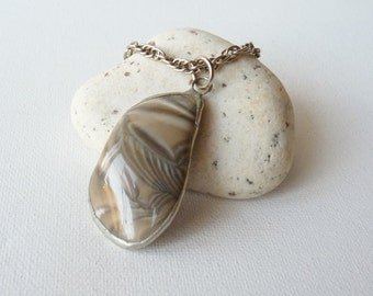 SALE, Agate Pendant Necklace Silver Tone Rope Chain Beige Agate Necklace,  Vintage Earthy Jewelry, Natural Agate ,Original Agate,Retro Agate