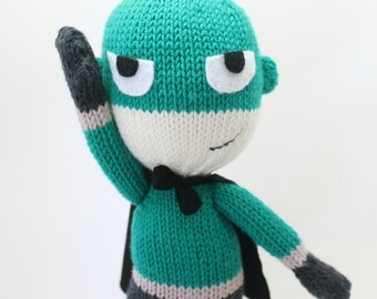 Knitted Superhero Pattern - PDF Knitting Pattern, Mighty Miller, Boys Gift Idea, Knitted Boys Toy