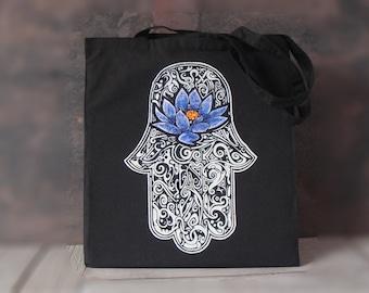 Hamsa lotus flower tote bag, Canvas tote bag, Yoga bag, Hamsa yoga bag, Screen printing tote bag, Yoga accesories, Tote bag, Shopping bag