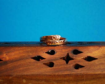 Hammered Copper ring with OM. Handmade copper ring, spiral ring, chakra ring, boho style.