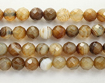Brown sardonyx faceted 10mm round 8 inch strand