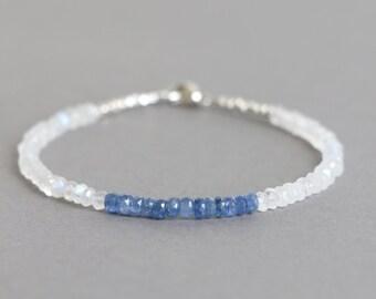 Blue Sapphire Bracelet Moonstone Bracelet September Birthstone Beaded Bracelet Stacking Bracelet