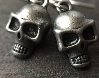Halloween Earrings w/ Skull - Halloween Jewelry - Gothic Skull Halloween Earrings - Hypoallergenic Earrings - Gothic Jewelry
