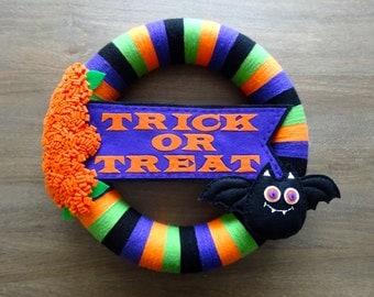 Halloween Felt Wreath, Felt Wreath, Halloween Wreath, Happy Halloween Bat Wreath