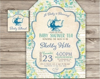 Blue Baby Tea Party Baby Shower Invitations Gender Neutral Download Yellow  Green Vintage Tea Pot Baby