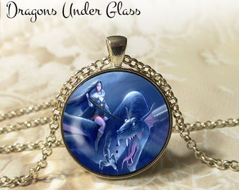 """Blue Lady and the Dragon Necklace - 1-1/4"""" Circle Pendant or Key Ring - Handmade Wearable Photo Art Jewelry - Fantasy Sci Fi Cosplay Gift"""