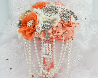 "Full Price - 10"" Orange Coral Silk Flower Bouquet Brooch Bouquet Wedding Bridal bouquet Wedding brooch bouquet Coral Bouquet"