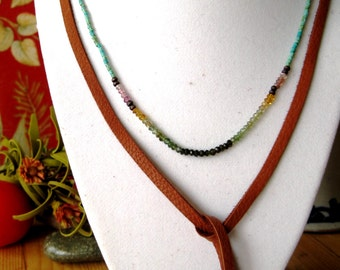Native American turquoise necklace//tourmaline compassion necklace//delicate turqoise bead layering necklace//Prosperity gemstone necklace