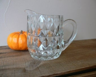 Depression Glass Clear small 16 oz Cream or Milk Pitcher, Jeanette Glass Co. Windsor Diamond Pattern Circa 1936 - 46