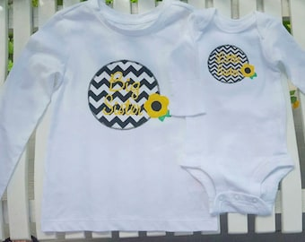 Little Sister/Big Sister Chevron and Floral T Bodysuit - Applique- Darling Gift!