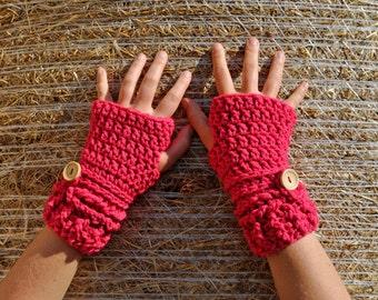 Pink Crochet Handwarmers