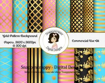 Gold Background Papers, Digital Scrapbooking,  Gold Scrap Kit Papers,  CU, CU4CU