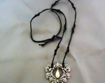 Handmade Macrame Necklace with Vintage Costume Jewelry Center