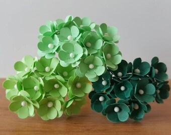 75 Mint Green Paper Flowers/Mint Flowers/Mini green flowers / paper flowers with stems / mint green / small green flowers