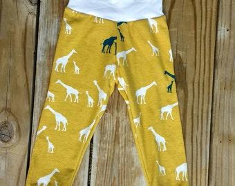Toddler Kid Baby Giraffe Pajama Lounge Pants Organic Cotton Bamboo Blue Yellow Navy White 3M 6M 9M 12M 18M 2T 3T 4T Stretch