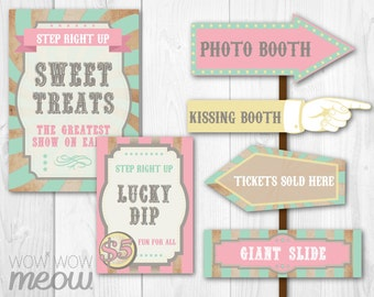 28 Vintage Circus Signs Printable INSTANT DOWNLOAD Pink Pastel Direction Arrow Signpost Personalize Birthday Carnival Party Hand Editable
