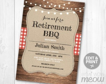 Retirement BBQ Invitation Garden Party Retired Invite INSTANT DOWNLOAD Printable Editable Womens Mens Rustic Lights Let's Celebrate