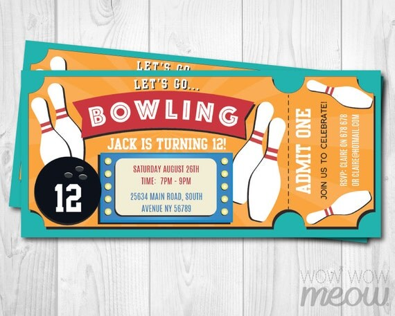 bowling ticket invite birthday party invitation by wowwowmeow