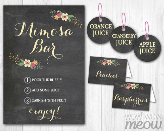 Mimosa Bar Sign Chalk Tags Amp Tents Signs Printables Floral