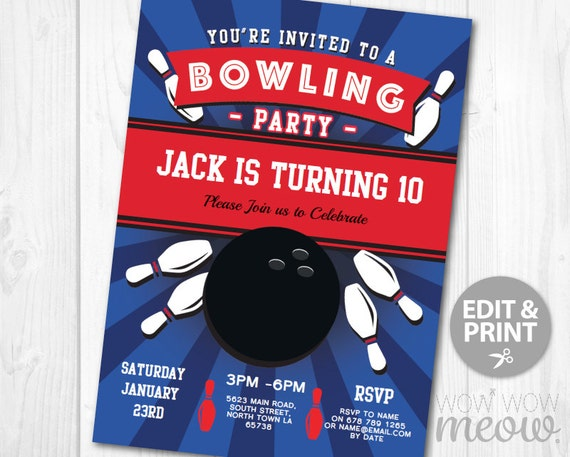 bowling birthday party invitation instant download ten pin