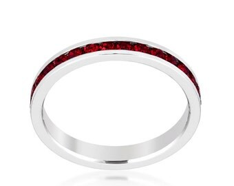 Stackable Garnet Red Swaroski Crystal Eternity Ring | This eternity band comes in a variety of colors for you to choose from