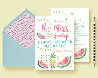 Fruity Pineapple Bachelorette Invitations, Party Invite, Bachelorette Weekend, Weekend Itinerary, Girls Night Out - Printable or Printed