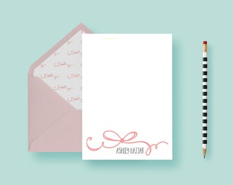 Bow Stationery, Girly, Pretty Pink Notes—Birthday Gift, Shower Gift, Christmas Gift, Holiday—Personalized Gift— FREE SHIPPING