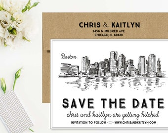 Boston Save the Date Cards - Rustic Save The Dates - Drawn Save The Dates