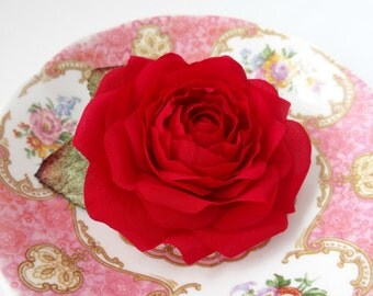 Red Rose Pure Silk Hair Clip Corsage