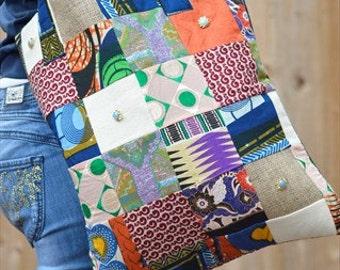 African patchwork tote bag, African bag, ladies tote bag, Shopper bag, Designer tote bag, Women's patchwork tote bag, ladies shoulder bag