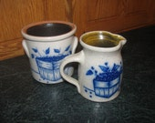 Salmon Falls Blueberry Salt Glaze Stonware, Creamer Pitcher and Sugar Crock