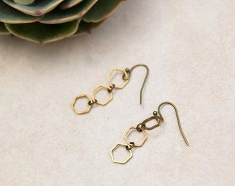 Antique Brass hexagon Earrings, Delicate honeycomb Earrings, hexagons in a row, Drop Hexagons, geometric minimalist earrings