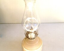 Vintage Hurricane Oil Lamp From the 80's - Kaadan LTD. - Beige/Pink