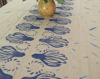 Hand block printed table cloth, Linen-Cotton, 73x56 inches